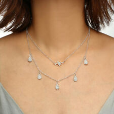 Women Double Layers Chain Snowflake Pendant Necklace Choker Fashion Jewelry Gift