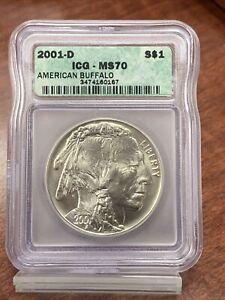2001-D Buffalo Commemorative Silver One Dollar Coin ICG MS70 Free Ship!