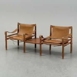 2x Arne Norell Safari Sirocco Lounge Chairs, Norell Mobel, Sweden, 1970s