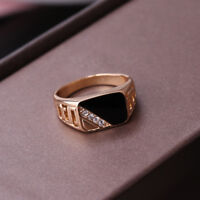 18K GOLD EP BLACK AND ROUND CZ CUT MENS DRESS RING SIZE 7-12 YOU CHOOSE