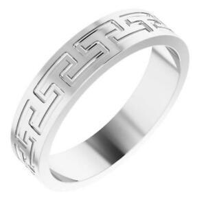 5mm Greek Key Wedding Band in Sterling Silver