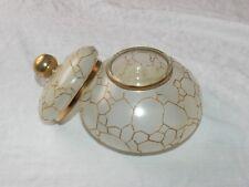 Vintage Frosted Glass Gold Gild Pattern Design  Vanity Dresser Powder Jar Box