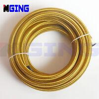 AN6  -6AN  AN-6  6-AN  Stainless Steel Braided Fuel Oil Line Hose Gas 1FT Gold