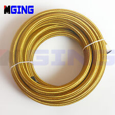 AN6  -6AN  AN-6  6-AN  Stainless Steel Braided Fuel Oil Line Hose Gas 1FT Gold