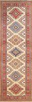 Vegetable Dye 10 ft Super Kazak Oriental Geometric Runner Rug Hand-knotted 3x10