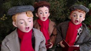 "Set 3 NIB 16"" THREE BOY CAROLERS Christmas Scene Figure Display Prop"