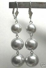 10-12-14mm GRAY/GREY Shell Pearl LEVERBACK DANGLE EARRINGS 925 STERLING SILVER