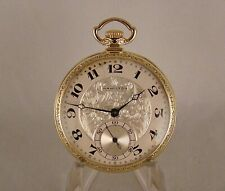 """93 YEARS OLD HAMILTON """"912"""" 17j 14k GREEN GOLD FILLED OPEN FACE POCKET WATCH"""
