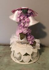 VINTAGE WEDDING CAKE TOPPER WITH SATIN BELLS FLOWERS LACE