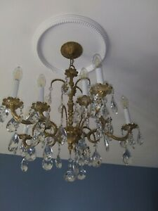 10 light double tier Spanish brass and Crystal Chandelier