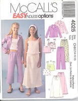 McCall's 4025 Girls' Shirt, Tops, Skirt and Pants  7, 8, 10, 12  Sewing Pattern