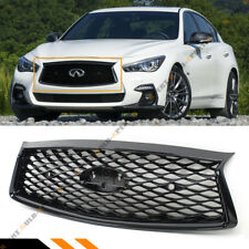 FOR 18-2020 INFINITI Q50 GLOSSY BLACK FRONT HOOD BUMPER UPPER GRILL WITH SENSORS