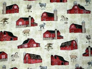 FAT QUARTER FABRIC  BARNS WEATHER VANE FARM ROOSTER  COUNTRY  QUILTING TREASURE