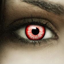 """Farbige Kontaktlinsen weiß rot """"Walking Zombie"""" + Behälter Halloween Linsen Fun"""