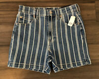 "GAP Denim NWT Women's Stripe Navy Cotton Blend High Rise 4"" Mom Shorts-Size 2/26"