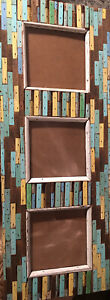 Recycled Boat wood picture frame wall 24 x 9 distressed triple 5x 5 green yellow