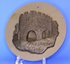 Handcrafted carved from Welsh coal - Five Arches Tenby on slate  W: 15cm [20793]