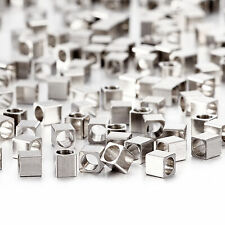 500x Stainless Steel Tiny Square Cube Beads Spacers 2.5x2.5mm DIY Jewelry Making