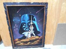1970's Original STAR WARS Oil Painting Black Velvet DARTH VADER- SKYWALKER-LEIA