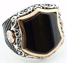 Unique 18gr Solid Sterling Silver Onyx Stone Men's Ring -USA- All Sizes 8-12 K6Y