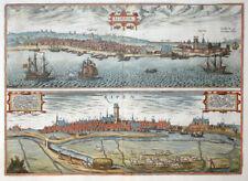 DÄNEMARK JÜTLAND ELSENOR RIPEN HELSINGÖR RIBE BRAUN HOGENBERG KOLORIERT 1580