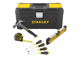 Stanley 5 Piece DIY Toolkit - Toolbox, Hammer, Screwdrivers, Level & Tape