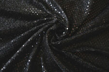 "Nero paillettes LUREX JERSEY FANCY DRESS DISCOTECA DANCE Craft tessuto materiale 44 ""Wide"
