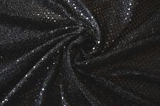 "BLACK SEQUIN LUREX JERSEY FANCY DRESS DISCO DANCE CRAFT FABRIC MATERIAL 44"" WIDE"