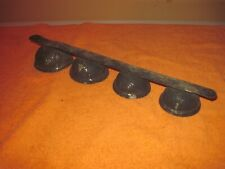 """Set of 4 Antique Bells on a Metal Strip, almost 14"""" long, Very Used Shabby Condi"""