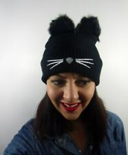 Bonnet noir hiver tête de chat oreilles fausse fourrure original