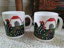 Waechtersbach Coffee Mugs Rooster Chickens Farm Vintage Polka Dot Cups Spain