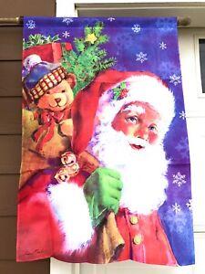 Evergreen Santa's Visit House Flag Toys Christmas  Size 29 X 43  Nylon Holiday