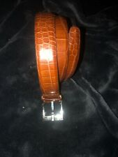 Calvin Klein Women'S Italian Alligator Calfskin Leather Brown Belt Size Small S