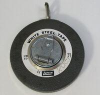 Vintage Lufkin Rule Co White Steel Tape Rewind 50' - USA