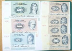 Lot of 7 vintage Danish bank notes. Denmark. 1972. Total - 730 kroner
