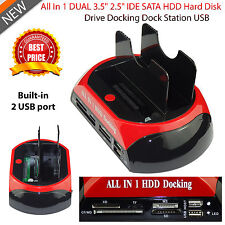 "DUAL 2.5"" 3.5"" IDE SATA Hard Drive Disk HDD Docking Station Dock USB HUB"