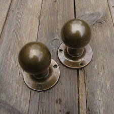Old Pair of Brass Round Door Knobs / Handles Balloon Circular