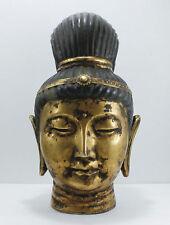 "Vintage Kuan Yin Buddha Head Statue Porcelain Gold Gilt Hollywood Regency 14"""