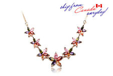 18K GP Elegant Bridal Party Colorful Cubic Zirconia Flower Necklace
