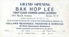 Adv Blotter~Bak Hop Lee Chinese Hand Laundry~Bronx,New York~Shirts 17c~c1930-40s