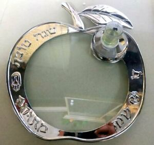 Silver Apple Candlestick plated Tray New Year's gift 9.4-inch glass decor table