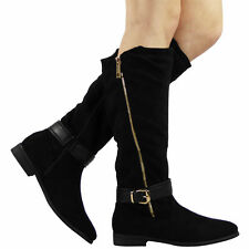 No Pattern Mid-Calf Casual Women's Boots