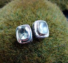 Sterling Silver .925 Handcrafted Green Phrenite Cushion Earrings