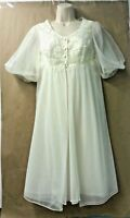 Vanity Fair Womens Size 32 Peignoir Gown Robe Set Ivory Chiffon Vintage