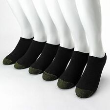 GOLD TOE 6-PAIR BLACK Shoe SZ L 6-13 Men SPORT LINER CUSHION NO SHOW Socks