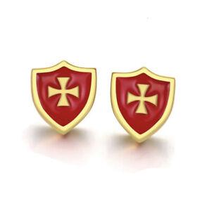 Mens Gold Crusader Knights Templar Earrings