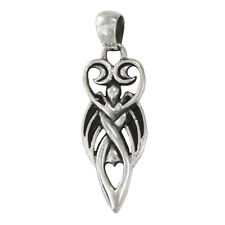 Sterling Silver Winged Lunar Goddess Pendant Wiccan Wicca Pagan Jewelry