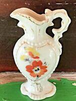 """Vintage Miniature Porcelain Pitcher W/Gold Trim, Flowers 3 1/4"""" High - Japan"""