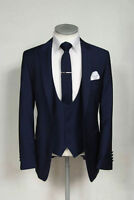 Men Blue Designer Wedding Grooms Tuxedo Dinner Casual Suit (Jacket+Vest+Pants)AU