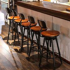 Industrial Retro Rustic Urban Bar Stool 360° Swivel Cafe Counter Chair 220LB UK